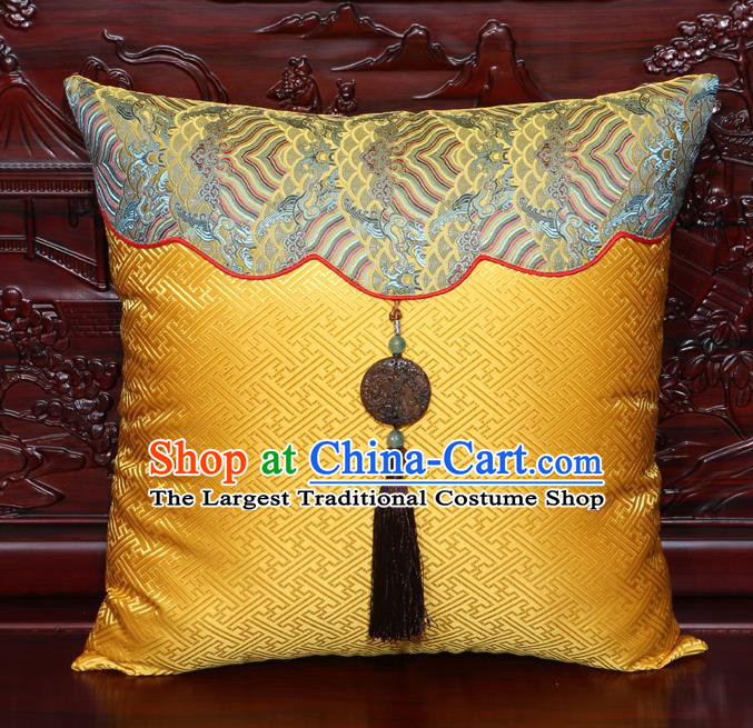 Chinese Classical Pattern Jade Pendant Golden Brocade Square Cushion Cover Traditional Household Ornament