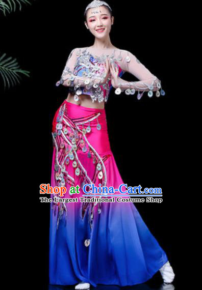 Chinese Traditional Ethnic Dance Costume Dai Nationality Peacock Dance Rosy Dress for Women