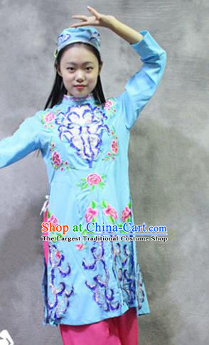 Asian Chinese Traditional Ethnic Costume Hui Nationality Dance Blue Dress for Women