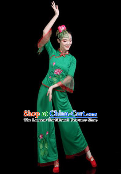 Chinese Traditional Yangko Dance Costume Folk Dance Fan Dance Green Clothing for Women