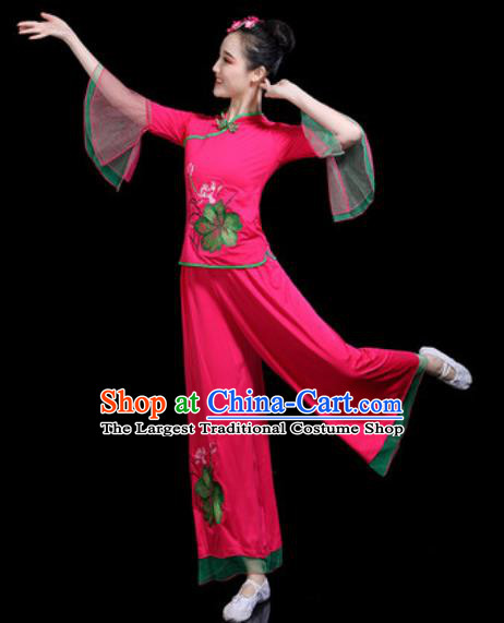 Chinese Traditional Yangko Dance Costume Folk Dance Fan Dance Rosy Clothing for Women