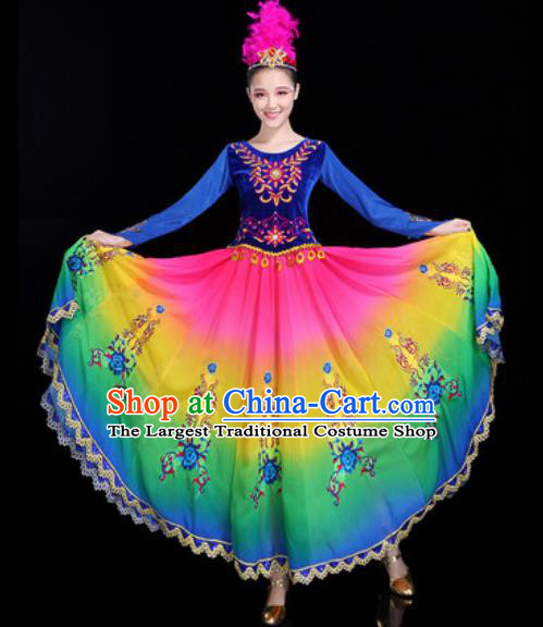 Chinese Traditional Ethnic Dance Costume Uyghur Nationality Folk Dance Dress for Women