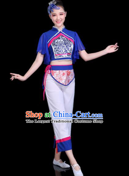 Chinese Traditional Yangko Dance Costume Folk Dance Fan Dance Blue Clothing for Women
