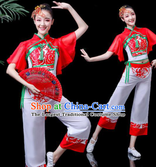 Chinese Traditional Yangko Dance Costume Folk Dance Fan Dance Clothing for Women