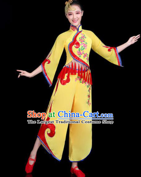 Chinese Traditional Folk Dance Yangko Dance Costume Fan Dance Yellow Clothing for Women