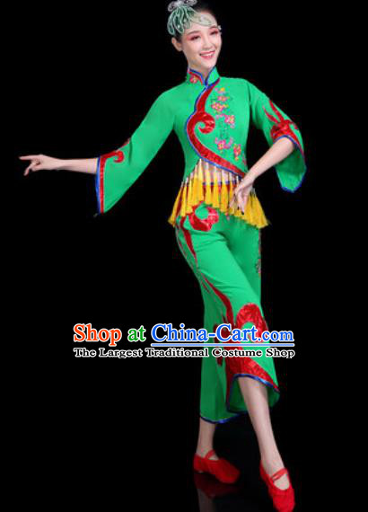 Chinese Traditional Folk Dance Yangko Dance Costume Fan Dance Green Clothing for Women