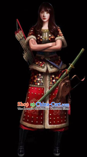 Chinese Ancient Drama Female General Body Armor Costume for Women