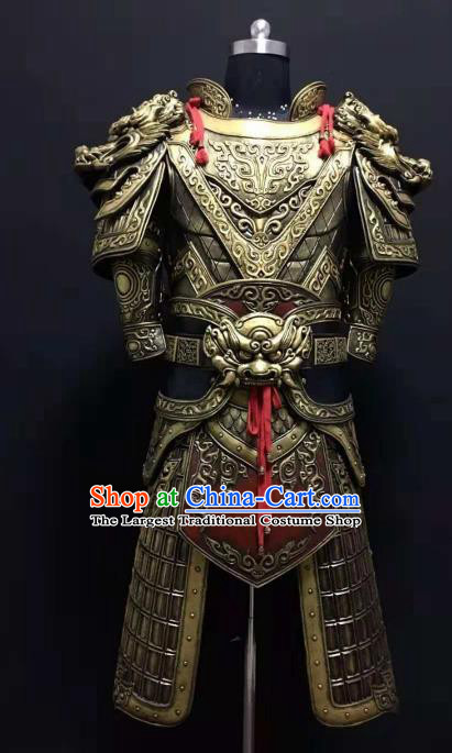Chinese Ancient Drama Han Dynasty Warrior Costume General Golden Body Armor Complete Set