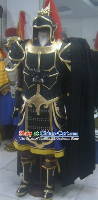 Chinese Han Dynasty Drama Warrior Costume Ancient General Body Armor and Helmet Complete Set