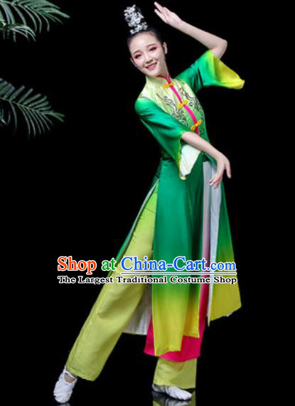 Traditional Chinese Classical Dance Costume Stage Performance Umbrella Dance Green Dress for Women