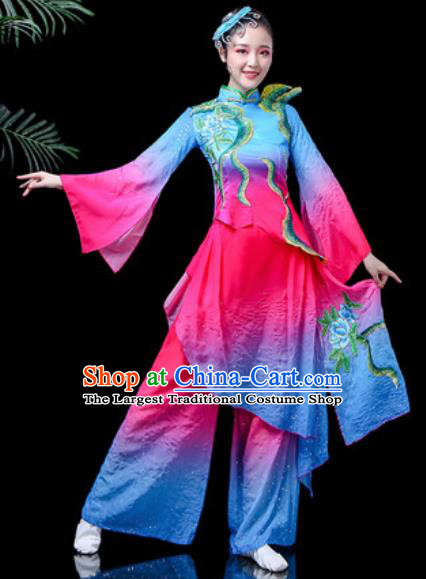 Traditional Chinese Folk Dance Costume Fan Dance Blue Clothing for Women