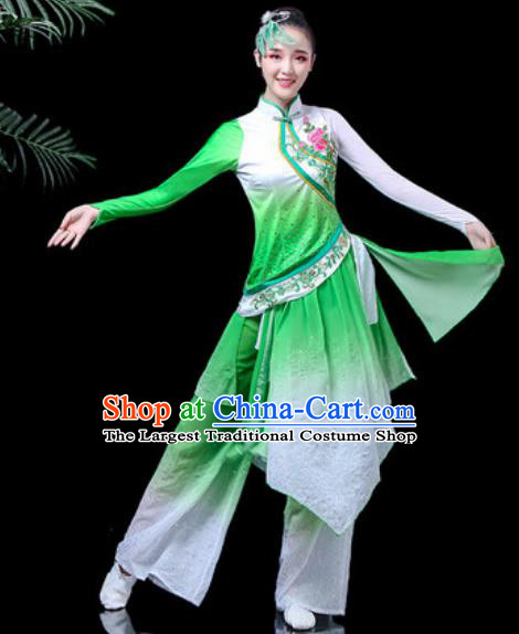 Traditional Chinese Folk Dance Costume Fan Dance Green Clothing for Women