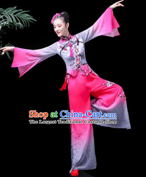 Traditional Chinese Folk Dance Costume Fan Dance Rosy Clothing for Women