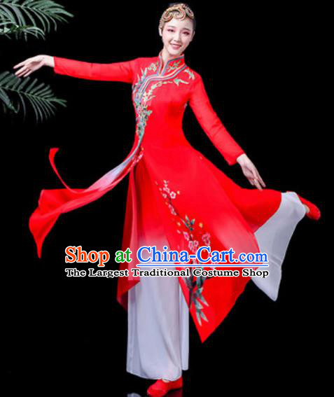 Traditional Chinese Classical Dance Costume Stage Performance Umbrella Dance Red Dress for Women