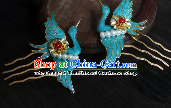 Chinese Ancient Palace Hair Accessories Qing Dynasty Queen Blueing Crane Hair Combs for Women