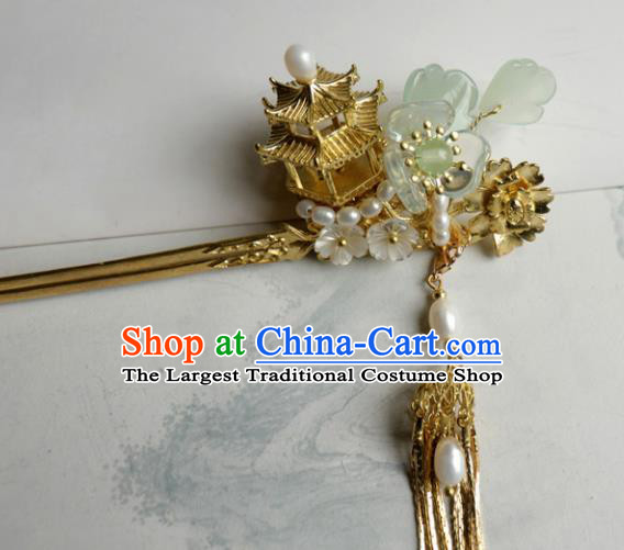 Chinese Ancient Palace Hair Accessories Qing Dynasty Queen Golden Hairpins for Women