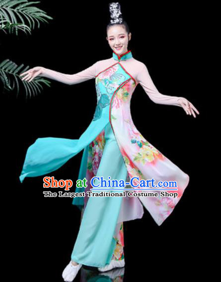 Traditional Chinese Classical Dance Costume Stage Performance Umbrella Dance Blue Dress for Women