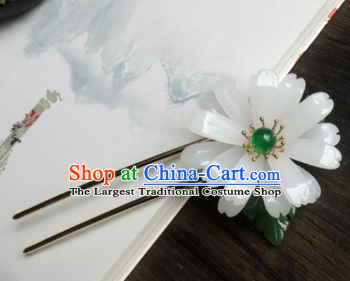 Chinese Ancient Palace Hair Accessories Traditional Classical White Flower Hairpins for Women