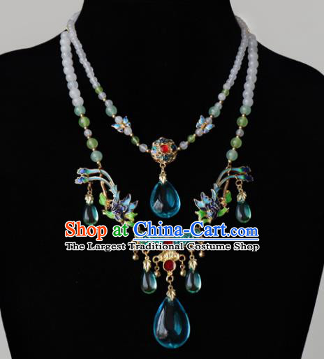 Chinese Ancient Qing Dynasty Palace Jewelry Accessories Traditional Classical Hanfu Blueing Necklace for Women