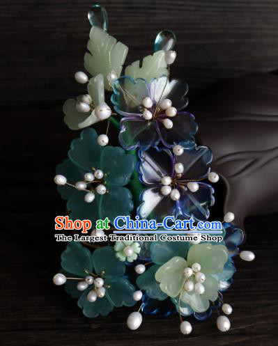Chinese Ancient Palace Hair Accessories Traditional Classical Flowers Hair Claw for Women
