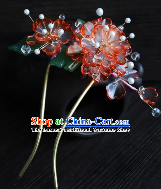 Chinese Ancient Palace Hair Accessories Traditional Classical Red Flowers Hairpins for Women