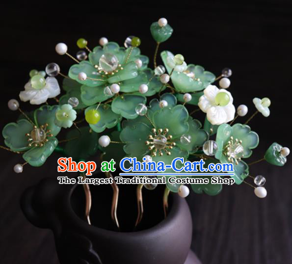 Chinese Ancient Palace Hair Accessories Traditional Classical Green Flowers Hair Comb for Women