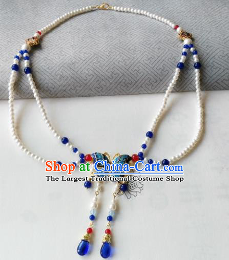 Chinese Ancient Palace Jewelry Accessories Traditional Classical Hanfu Blueing Butterfly Pearls Necklace for Women