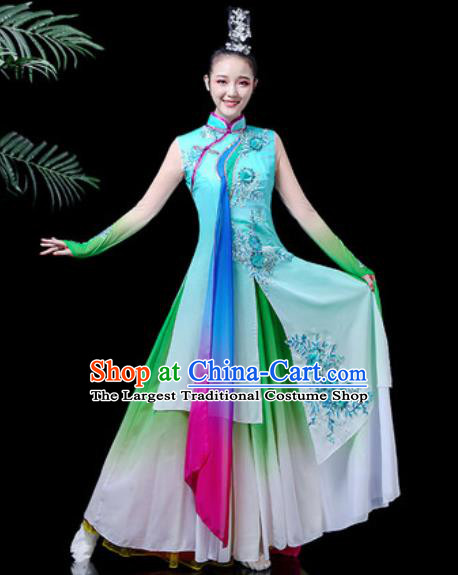 Traditional Chinese Classical Dance Costume Umbrella Dance Stage Performance Blue Dress for Women