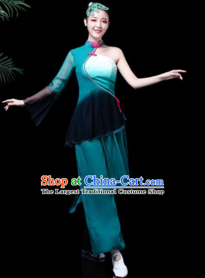 Traditional Chinese Stage Performance Folk Dance Costume Fan Dance Peacock Green Clothing for Women