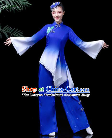 Traditional Chinese Stage Performance Folk Dance Costume Fan Dance Royalblue Clothing for Women