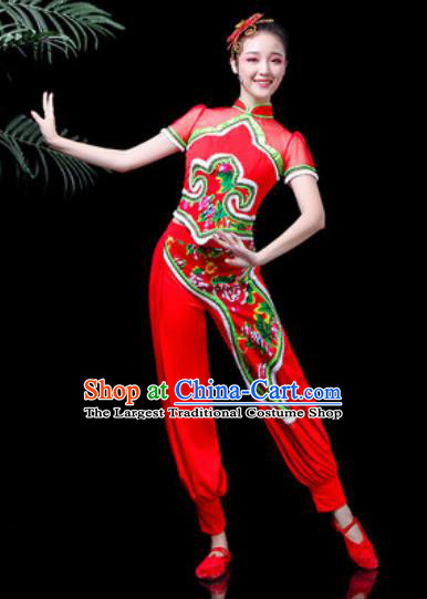 Traditional Chinese Stage Performance Costume Folk Dance Fan Dance Red Clothing for Women