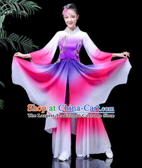 Traditional Chinese Classical Dance Stage Performance Costume Umbrella Dance Purple Dress for Women