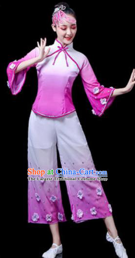 Traditional Chinese Yangko Dance Stage Performance Costume Folk Dance Lilac Clothing for Women