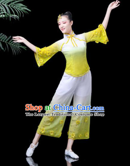 Traditional Chinese Yangko Dance Stage Performance Costume Folk Dance Yellow Clothing for Women