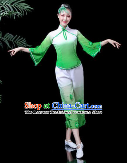 Traditional Chinese Yangko Dance Stage Performance Costume Folk Dance Green Clothing for Women