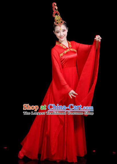 Traditional Chinese Stage Performance Costume Classical Dance Umbrella Dance Red Dress for Women