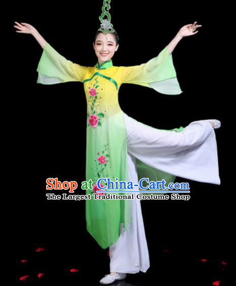 Traditional Chinese Stage Performance Costume Classical Dance Umbrella Dance Yellow Dress for Women