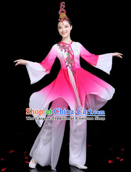 Traditional Chinese Stage Performance Costume Group Dance Classical Dance Pink Dress for Women