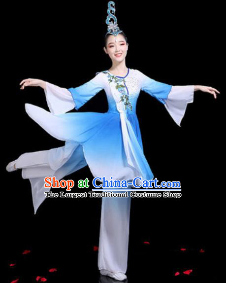 Traditional Chinese Stage Performance Costume Group Dance Classical Dance Blue Dress for Women