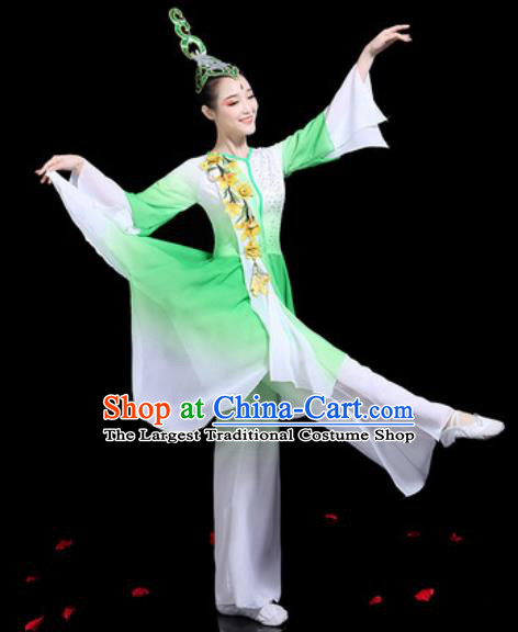 Traditional Chinese Stage Performance Costume Group Dance Classical Dance Green Dress for Women