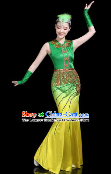 Chinese Traditional Ethnic Pavane Dance Costume Dai Nationality Peacock Dance Dress for Women