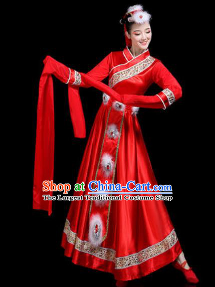 Chinese Traditional Ethnic Dance Costume Zang Nationality Folk Dance Red Dress for Women