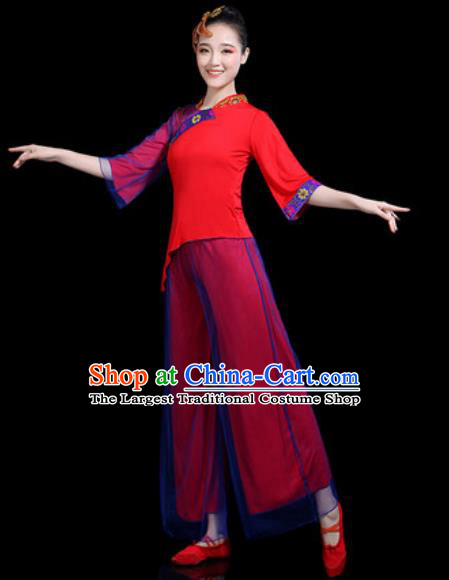Traditional Chinese Yangko Dance Stage Performance Costume Folk Dance Red Clothing for Women