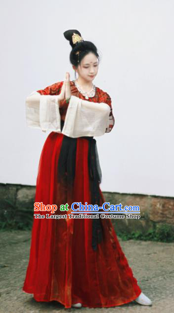 Chinese Traditional Tang Dynasty Historical Costume Ancient Peri Princess Hanfu Dress for Women