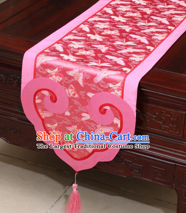 Chinese Classical Kites Pattern Pink Satin Table Flag Traditional Brocade Household Ornament Table Cover
