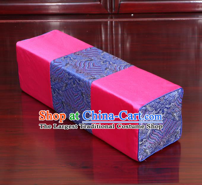 Chinese Traditional Household Accessories Classical Pattern Pink Brocade Pillow Armrest Pillow