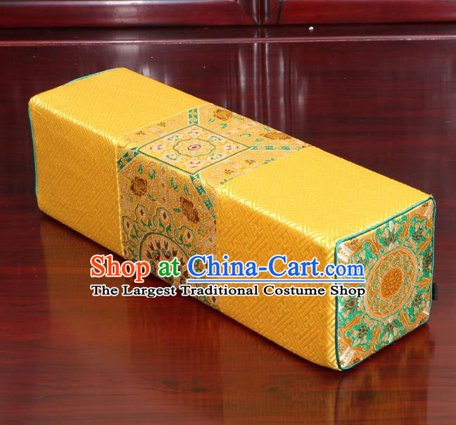 Chinese Traditional Household Accessories Classical Pattern Yellow Brocade Pillow Armrest Pillow