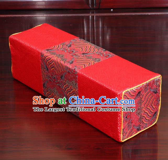 Chinese Traditional Household Accessories Classical Wave Pattern Red Brocade Pillow Armrest Pillow