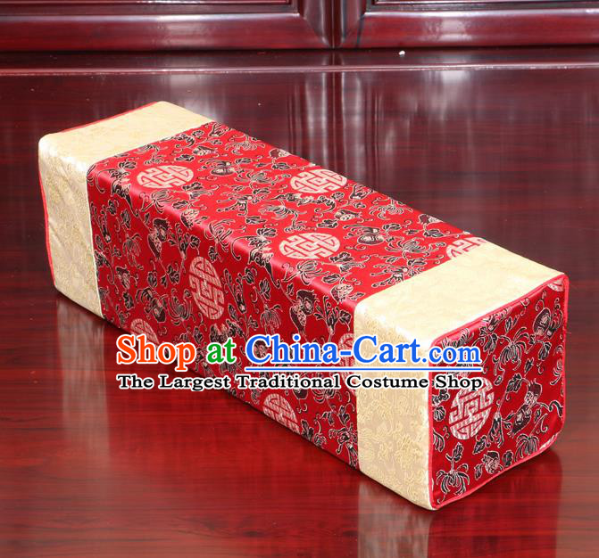 Chinese Traditional Household Accessories Armrest Pillow Classical Chrysanthemum Pattern Red Brocade Pillow