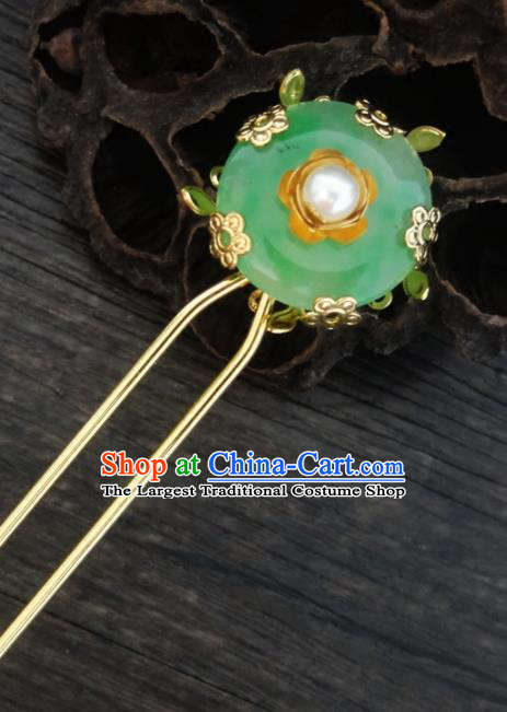 Chinese Ancient Palace Hair Accessories Traditional Classical Jade Hairpins for Women